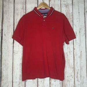Red Tommy Hilfiger polo shirt XL